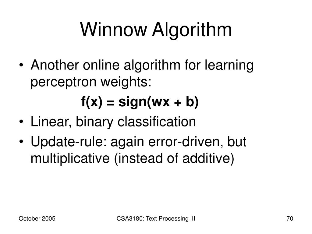 Winnow Algorithm