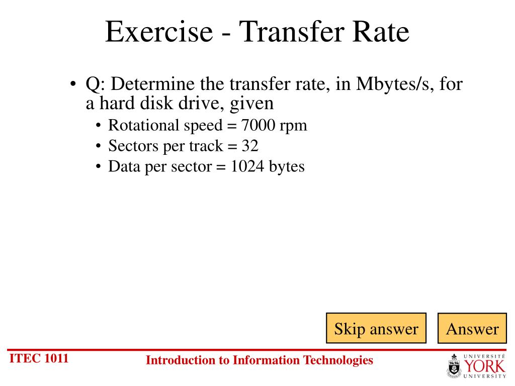 Exercise - Transfer Rate