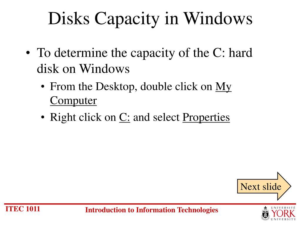 Disks Capacity in Windows