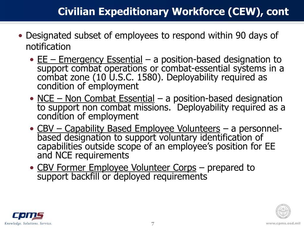 Civilian Expeditionary Workforce (CEW), cont