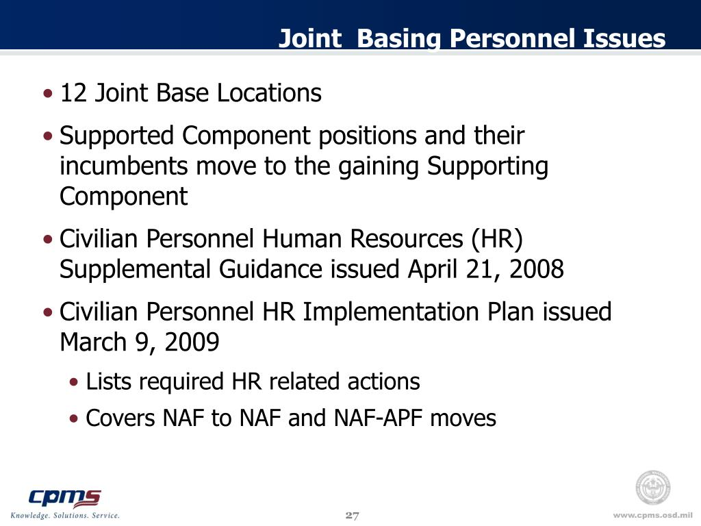 Joint  Basing Personnel Issues