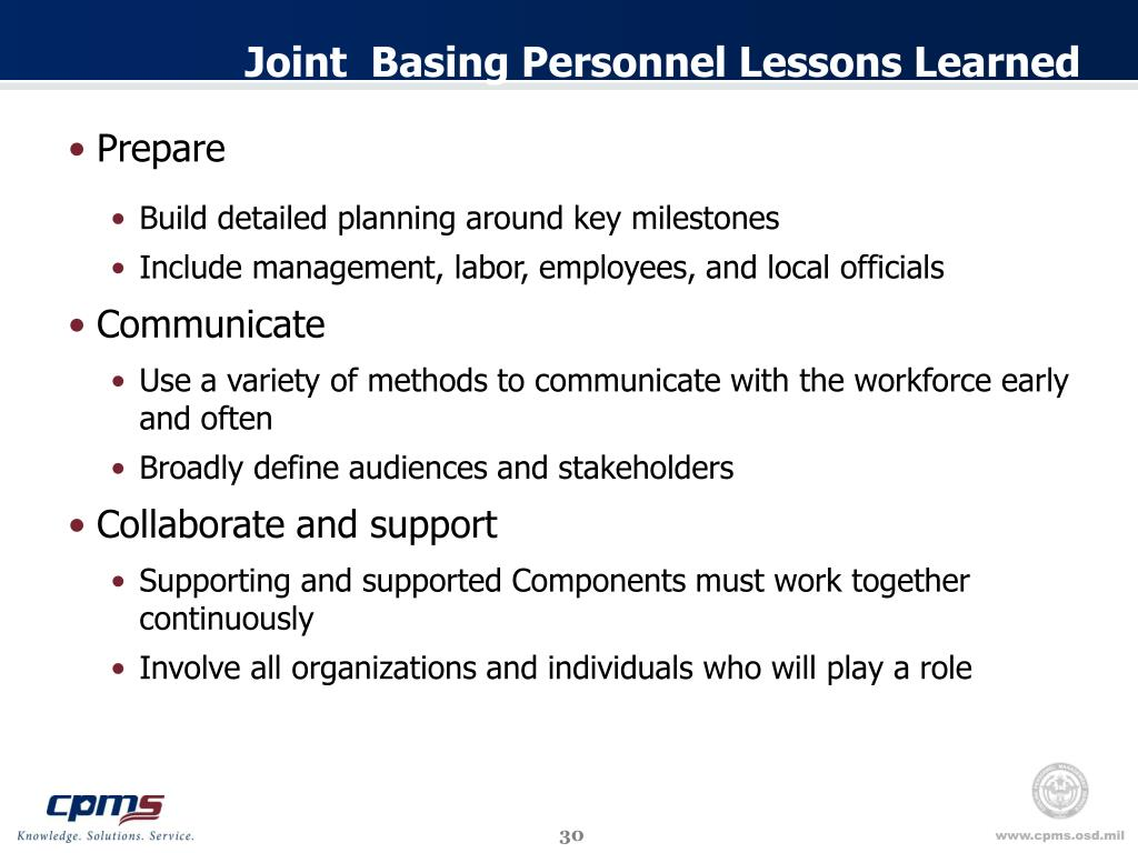 Joint  Basing Personnel Lessons Learned