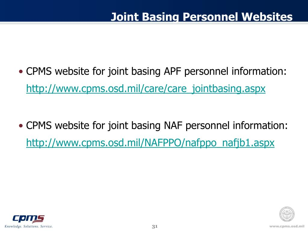 Joint Basing Personnel Websites