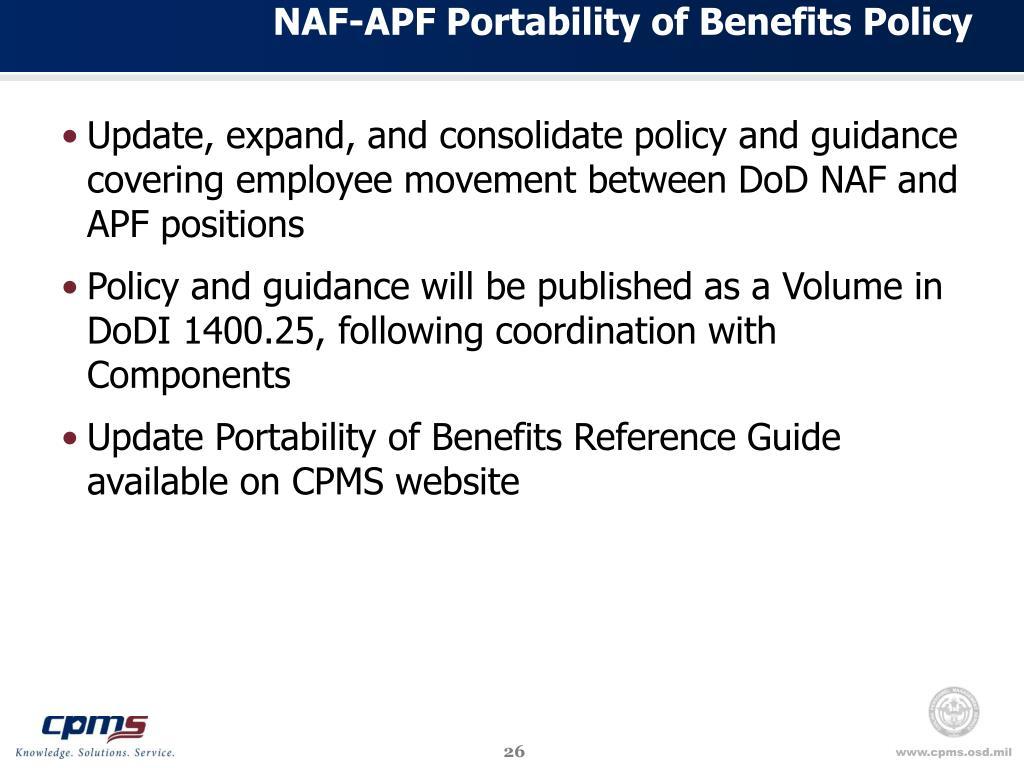 NAF-APF Portability of Benefits Policy