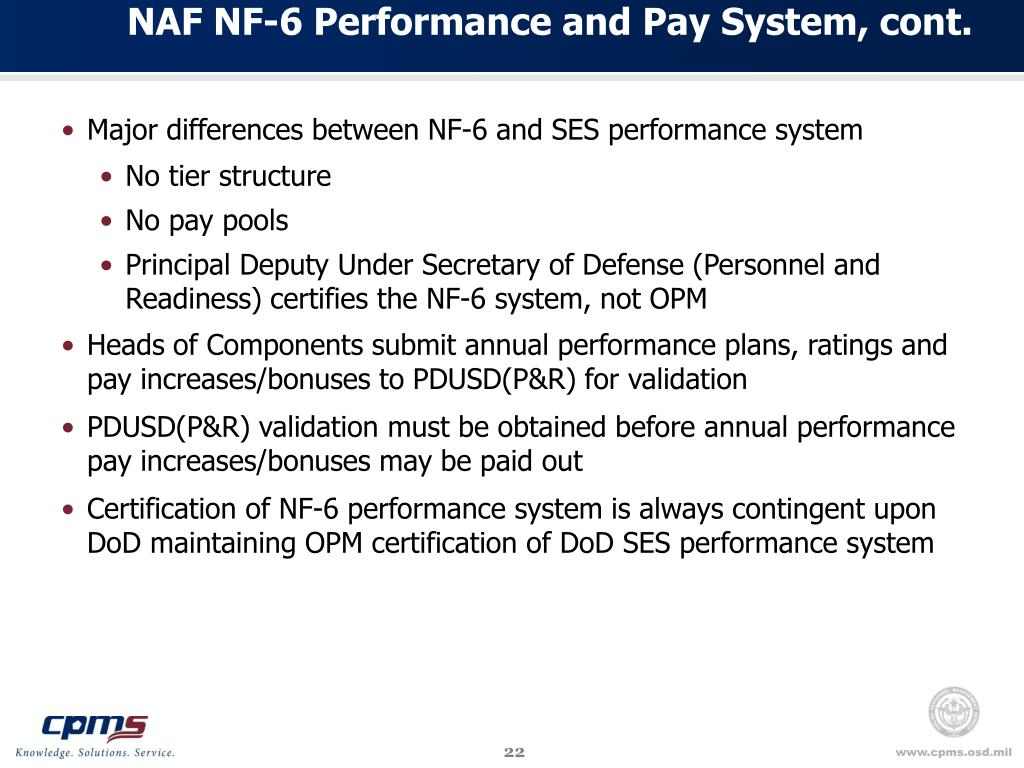 NAF NF-6 Performance and Pay System, cont.