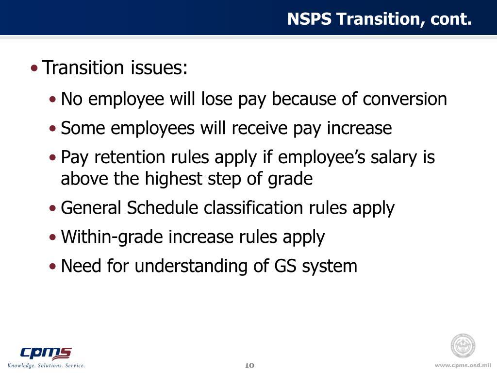 NSPS Transition, cont.