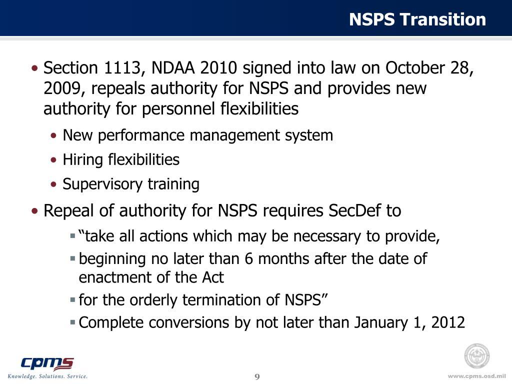 NSPS Transition