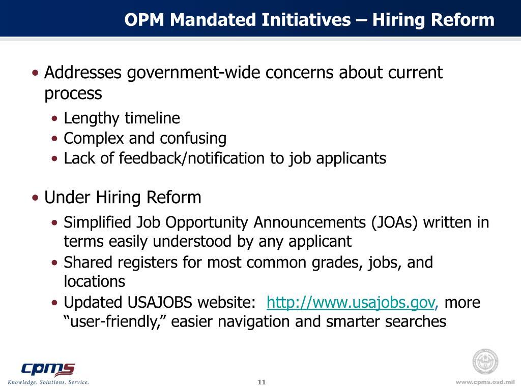 OPM Mandated Initiatives – Hiring Reform