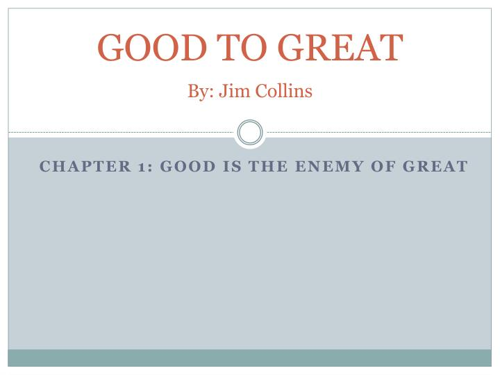 good to great by jim collins n.
