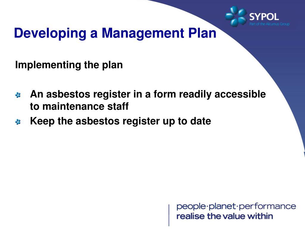 Developing a Management Plan