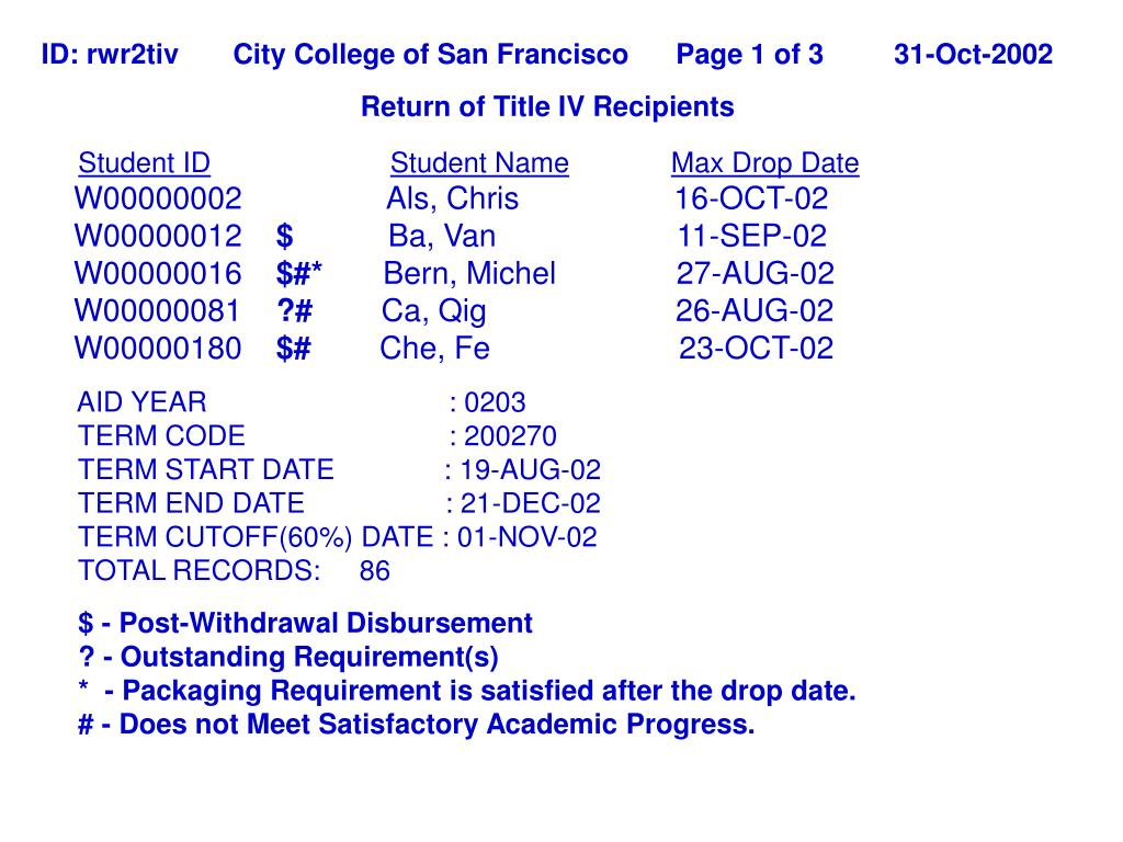ID: rwr2tiv       City College of San Francisco      Page 1 of 3         31-Oct-2002