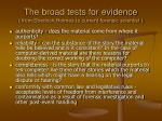 the broad tests for evidence from sherlock holmes to current forensic scientist