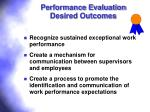 performance evaluation desired outcomes