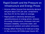 rapid growth and the pressure on infrastructure and energy prices