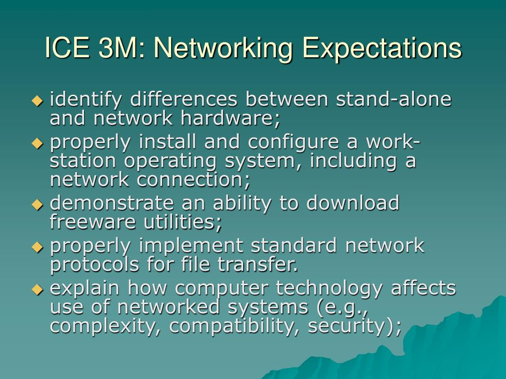 ICE 3M: Networking Expectations