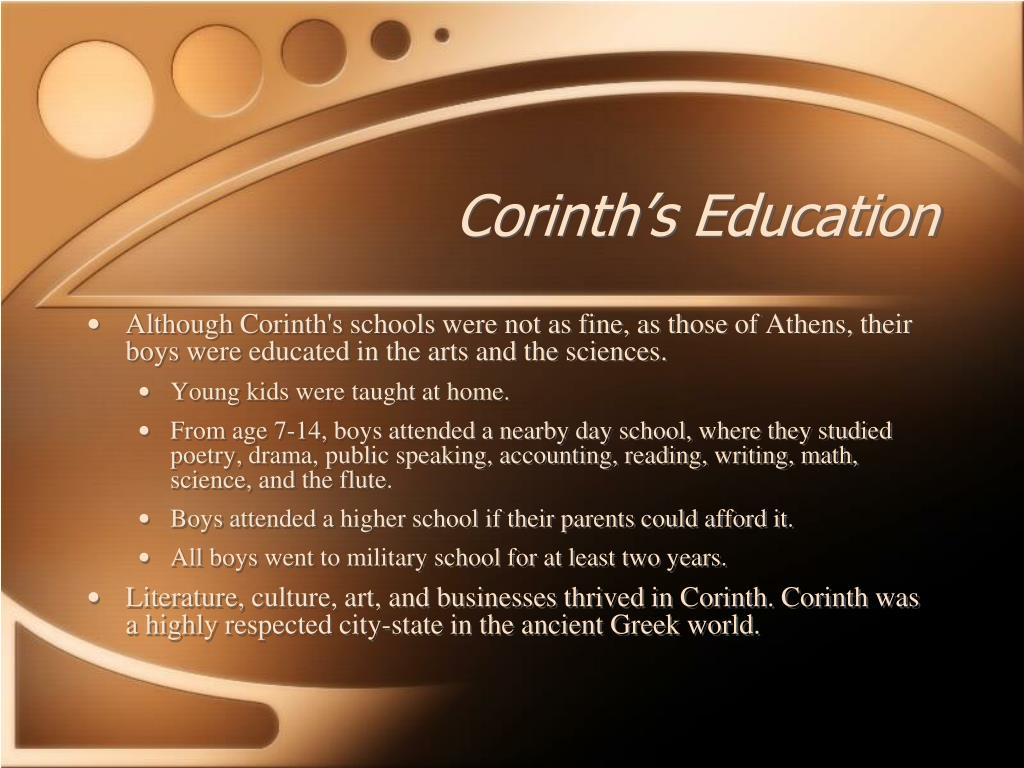 Corinth's Education
