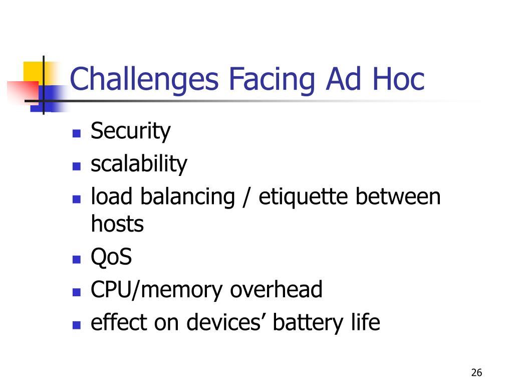 Challenges Facing Ad Hoc
