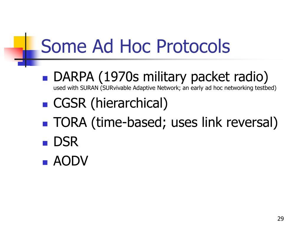 Some Ad Hoc Protocols