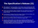 the specification s release ii