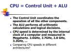 cpu control unit alu