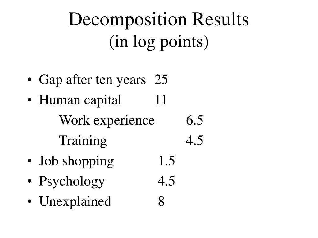 Decomposition Results