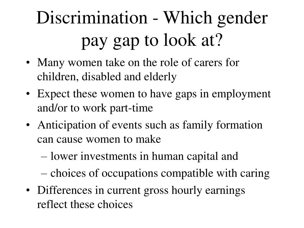 Discrimination - Which gender pay gap to look at?