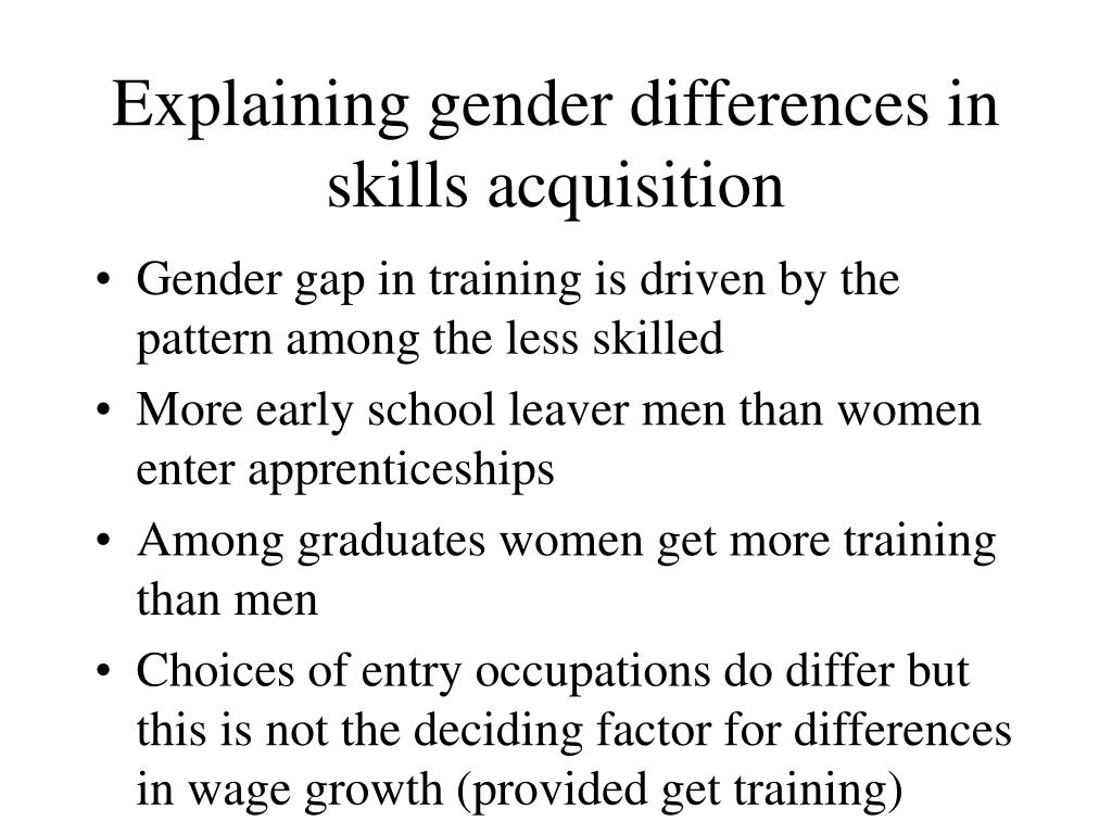 Explaining gender differences in skills acquisition