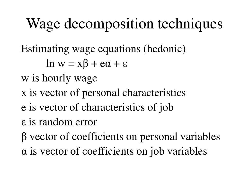 Wage decomposition techniques