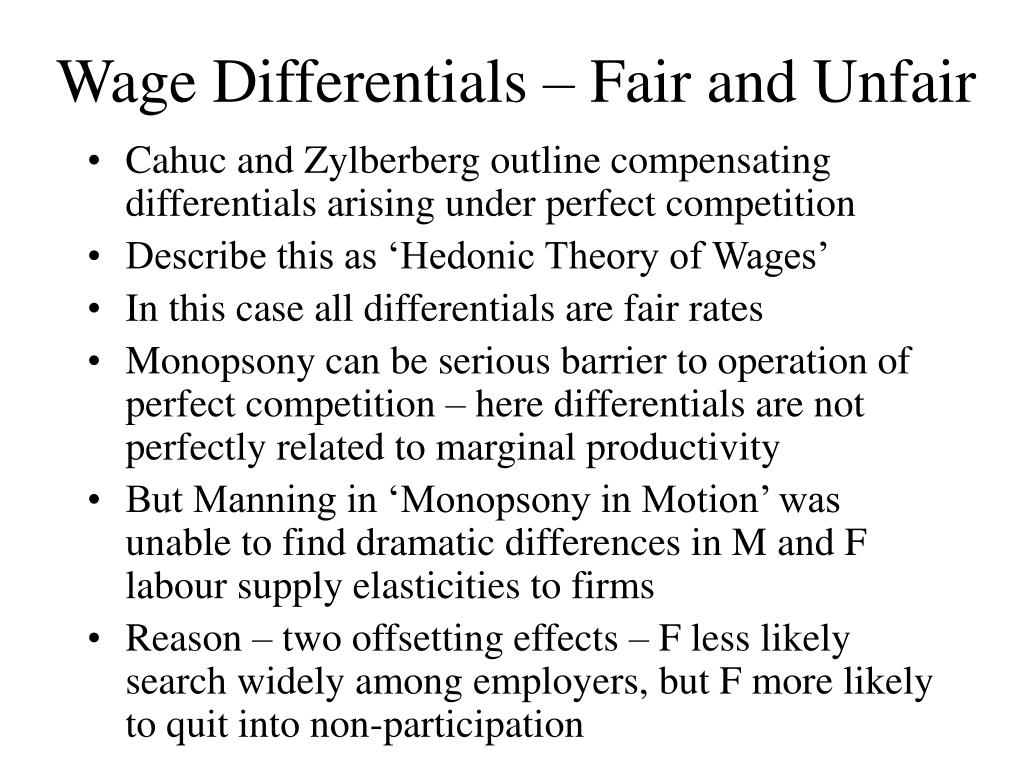 Wage Differentials – Fair and Unfair