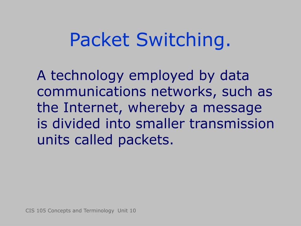 Packet Switching.