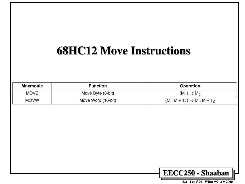68HC12 Move Instructions
