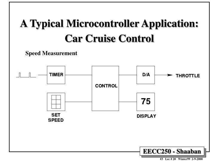 A typical microcontroller application car cruise control