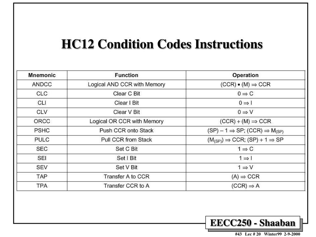 HC12 Condition Codes Instructions