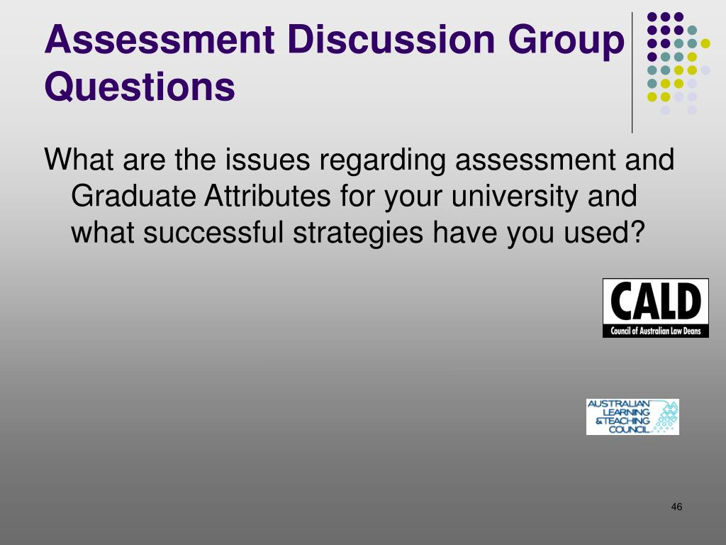 Assessment Discussion Group Questions