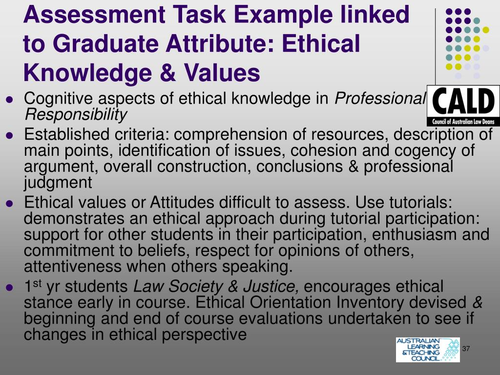 Assessment Task Example linked to Graduate Attribute: Ethical Knowledge & Values