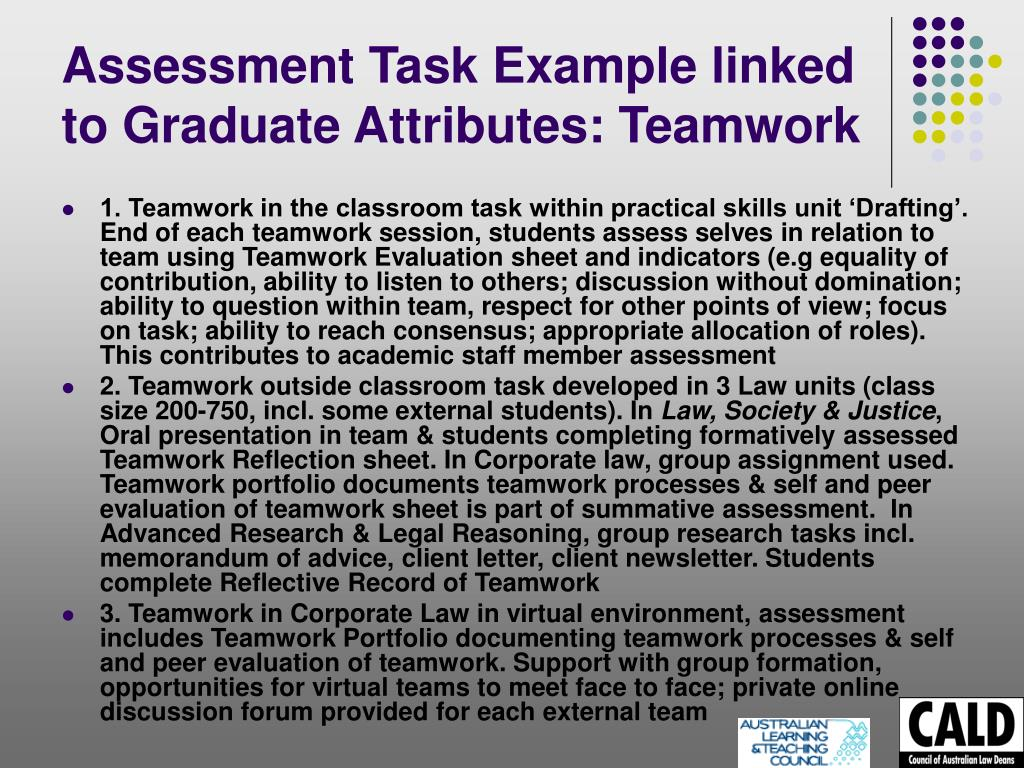 Assessment Task Example linked to Graduate Attributes: Teamwork