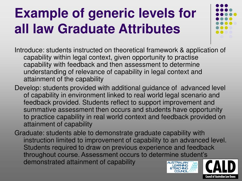 Example of generic levels for all law Graduate Attributes