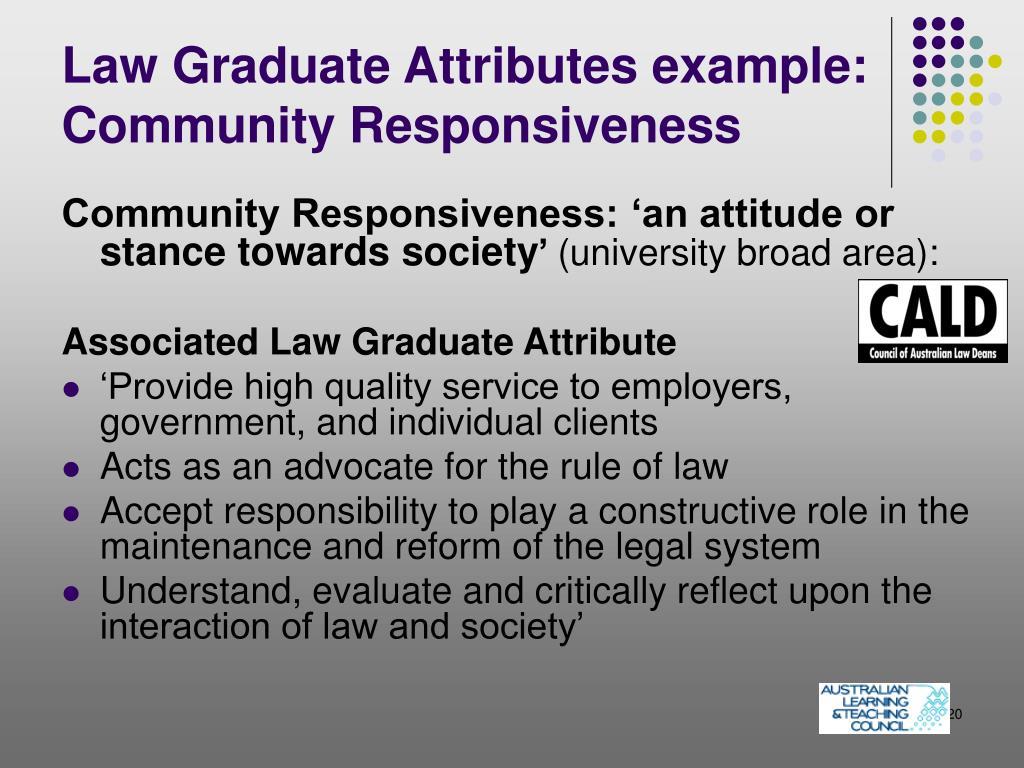 Law Graduate Attributes example: Community Responsiveness