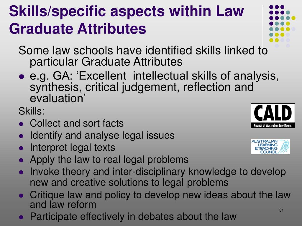 Some law schools have identified skills linked to particular Graduate Attributes
