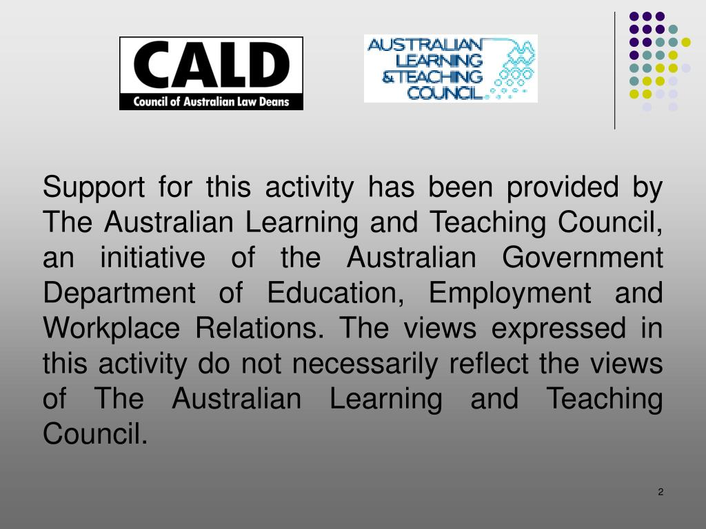 Support for this activity has been provided by The Australian Learning and Teaching Council, an initiative of the Australian Government Department of Education, Employment and Workplace Relations. The views expressed in this activity do not necessarily reflect the views of The Australian Learning and Teaching Council.
