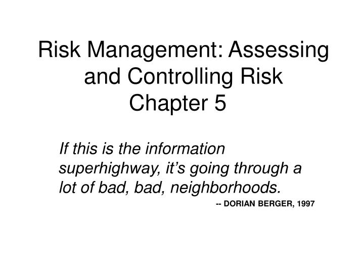 chapter 4 risk management Chapter 4 - risk management, tricks of the trade - download as pdf file (pdf), text file (txt) or read online chapter 4 of risk management, tricks of the trade.