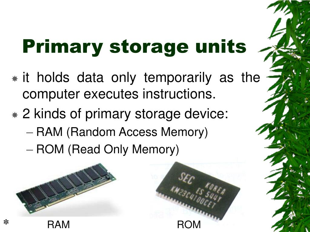 Primary storage units