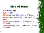 size of data