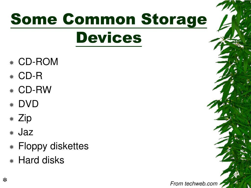 Some Common Storage Devices