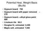 potential heat weight basis btu lb