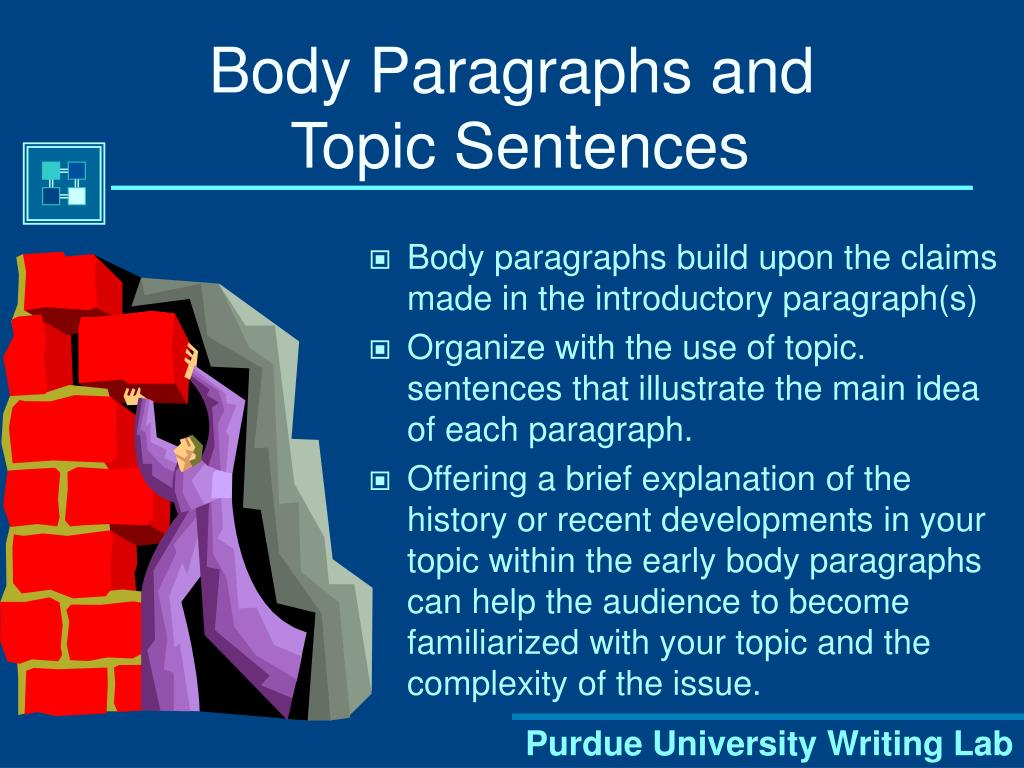 paragraphs and topic sentences Welcome to the engagement area of the purdue owl topics included in this resource are as follows: topic sentences, relevance of ideas, order of ideas.