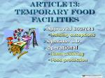 article 13 temporary food facilities