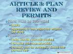 article 3 plan review and permits