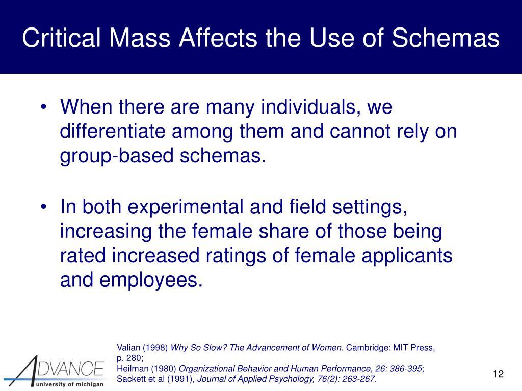 Critical Mass Affects the Use of Schemas