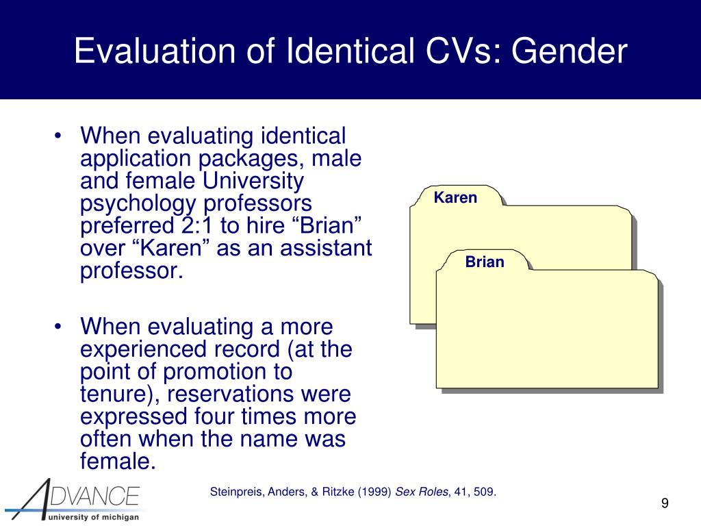 Evaluation of Identical CVs: Gender